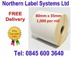 80mm x 35mm WHITE Direct Thermal Labels 1,000 per roll for Zebra type printer