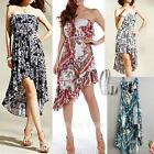 BOHO Sexy Vintage pattern Uneven Hem Party Beach Dress SZ S-L/AU8-14 dr138
