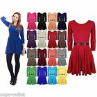 Womens Belted 3/4 Short Sleeves Flared Franki Party Ladies Skater Dress Top 8-14