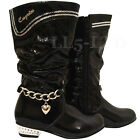 GIRLS PATENT LEATHER ZIPPER METAL HEELS MID CALF KIDS FASHION PARTY BOOTS SZ 7-3