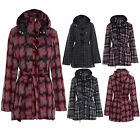Ladies Wool Check Girls Hooded Duffle Womens Toggle Button Coat Jacket Size 8-14