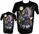 Wolf Eagle Moon Native American Red Indian Biker T- Shirt By Wild