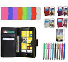 LEATHER BOOK WALLET COVER CASE FOR MOBILE PHONES + STYLUS PEN + SCREEN PROTECTOR