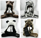 Winter Hood Animal Faux Fur Hat Scarf With Mittens Gloves Pocket Paw Print UK