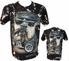 Biker Harley Bulldog Dog Motorbike Bike Tattoo Tye Dye T-Shirt M - XXL