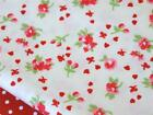 Red vintage FLORAL bow country chic 100% COTTON FABRIC for dress craft bunting