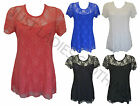 NEW LADIES WOMEN LACE LINED TOP SHORT SLEEVE PLUS SIZE12,14,16,18,20,22,24,26,28