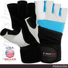 Weight Lifting Gloves Gym Body Building Fitness Training Long Wrist Strap - NEW
