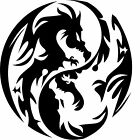 Yin Yang Dragons Vinyl Wall Art Sticker Present Gift Tattoo Style Ying Fighting