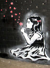 BANKSY - GIRL BLOWS HEARTS - FRAMED 100% COTTON CANVAS PRINT - ready to hang