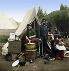 Tent Life 31st PA Camp Slocum DC Woman Family Color Tinted photo Civil War 01666