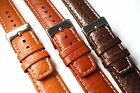 Buffalo grain brown (3 shades) leather strap with natural stitch. 18, 20 or 22mm