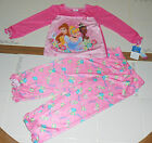 Nwt New Disney 3 Princess Pajamas Sleepwear PJ's Silky Pink Top Pants Cute Girl