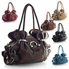 Designer Fashion Multi Pocket Silver Ring Detail Medium Satchel Shoulder Handbag
