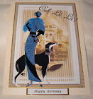 Art Deco Lady Female Birthday Card can be personalised