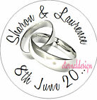PERSONALISED WEDDING DAY SILVER RINGS STICKER SEAL GIFT FAVOUR INVITES WDSC12