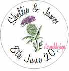 PERSONALISED WEDDING DAY SCOTTISH THISTLE STICKER SEAL GIFT FAVOUR INVITE WDSC14