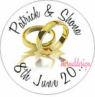 PERSONALISED WEDDING DAY TWO GOLD RINGS STICKER SEAL GIFT FAVOUR INVITE WDSC20