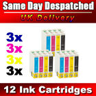 12 Ink Cartridges Replace for Epson Stylus T0711-T0714 T0715 Printer