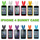 Cute Bunny Rabbit Cover for iPhone 4 4G 4S Silicone Case Skin with Fluffy Tail