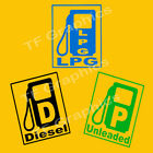 2 x Fuel Reminder Stickers - Available in 3 sizes - Diesel, LPG and Unleaded.