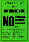 No Cold Religious Callers Sign from the UK (soliciting,  salesmen) Laminated