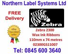 ZEBRA 110mm x 74 metre Wax Thermal Transfer Ink Ribbon 02300GS11007 +VAT RECEIPT