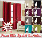 READY MADE CURTAIN FAUX SILK EYELET RING TOP LINED CURTAINS WITH TIE BACKS