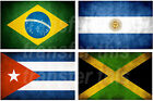 BRAZILIAN ARGENTINE CUBAN JAMAICAN FLAG IRON ON TSHIRT TRANSFER OR STICKER WALL