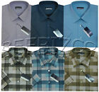 New Mens Short Sleeve Poly Cotton Check Shirt M - Xxl By Tom Hagan