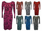 NEW LADIES WOMEN PRINT MIDI DRESS PLUS SIZE8,10,12,14,16,18,20,22,24,26,28,30,32