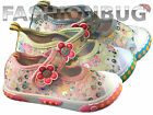GIRLS CANVAS FLOWER SEQUIN PUMPS casual sparkle shoes infant kids trainer