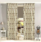 Luxor Luxury Curtain - Ivory Cream Faux Silk Floral Pencil Pleat Lined Curtains