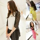 Chic Women Collarless Lace 3/4 Sleeve Thin Outwear Casual Crochet Jacket #C9363