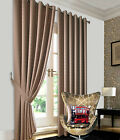 Heavy Jacquard Curtains Beige Faux Silk Eyelet Ready Made Ring Top Lined Curtain