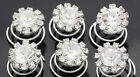 6 PCS Crystal Rhinestones Butterfly Twist Hair Pins Bridal Wedding Accessories