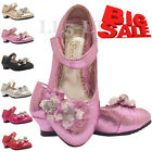 Girls Infant Toddlers Wedding Party Velcro Fancy Heels Shoes Size 7- 11 12 -3