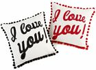 """I Love You Retro With Pom-poms 17"""" x 17"""" Cushion Covers Or Complete One Pair (2)"""