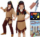 Boys Girls Childs Red Indian Cowboy Fancy Dress Face Paint Dagger Knife Necklace