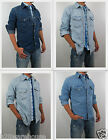NWT HOLLISTER Men Muscle Fit Classic Vintage Wash Denim Shirt By Abercrombie