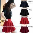 Candy Color Women's Stretch Waist Pleated Jersey Plain Skater Flared Mini Skirts