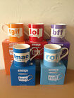 TEXT TALK SAYING FINE CHINA  MUGS BARGAIN PRICE 5 DIFFERENT TO CHOSE FROM