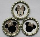 3 Bottlecaps Minnie Mouse Zebra Leopard Bow Scrapbook