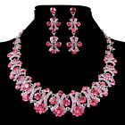 Retro Stunning Earring Necklace Sets Crystal Bridal Wedding Party Jewelry 7Color