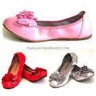 NEW Girls Full Leather Ballet Flat shoes White Red Silver 8 9 10 11 12 13 1 2 3
