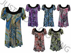 NEW LADIES WOMEN SHORT SLEEVE VARIOUS PRINT SMOCK TOP SCOOP NECK PLUS SIZE 14-28