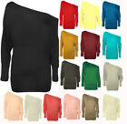 New Ladies Batwing Top Long Sleeve Off Shoulder Baggy Slough Plus Size top8-34