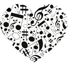 Musical Notes in a Heart Shape Vinyl Wall Art Sticker in any of 24 Colours