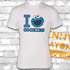 I HEART COOKIES - COOKIE MONSTER - SESAME STREET - WHITE GILDAN SOFTSTYLE - FUN
