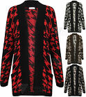 Ladies Womens Houndstooth Check Pattern Cardigan Knitted Knit Tweed Dog Tooth